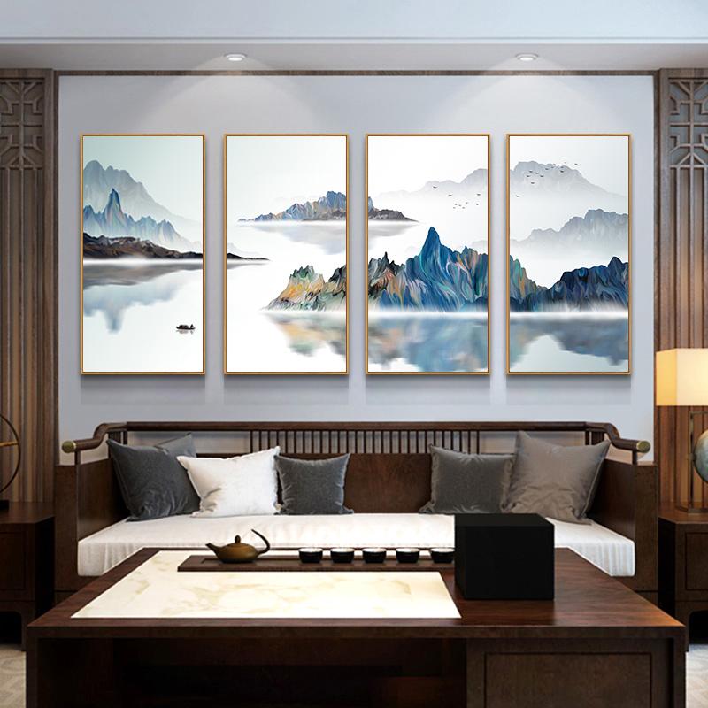 新中式客厅山水装饰画 沙发背景墙挂画玄关走廊餐厅四联组合壁画