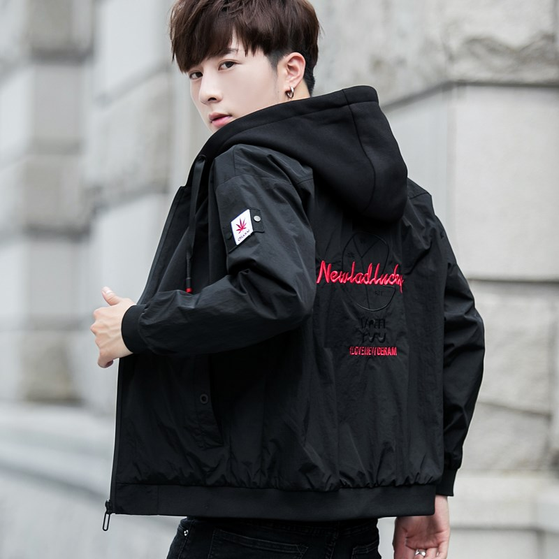 Spring and autumn outerwear mens local Korean version trendy and versatile; middle school students casual autumn and winter clothes; jacket and jacket with velvet