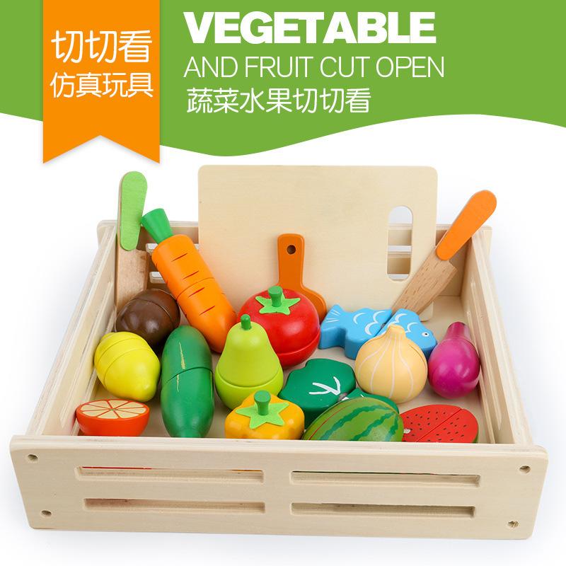 出口水果蔬菜切切看切切乐木制磁性 婴儿童过家家厨房1-3-5岁玩具