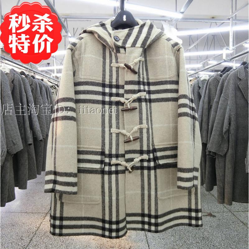 2020 Korean hand sewn double-sided cashmere coat wool tweed coat ox horn buckle hooded large pocket medium long female