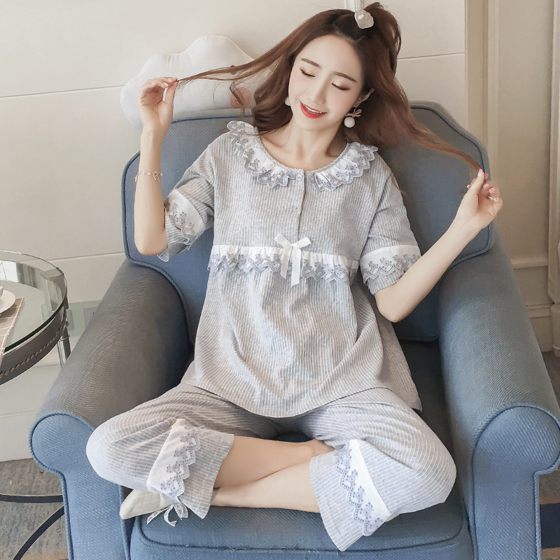 Pajamas womens summer pure cotton thin short sleeve Capris Korean version sweet lovely princess style loose all cotton two piece suit