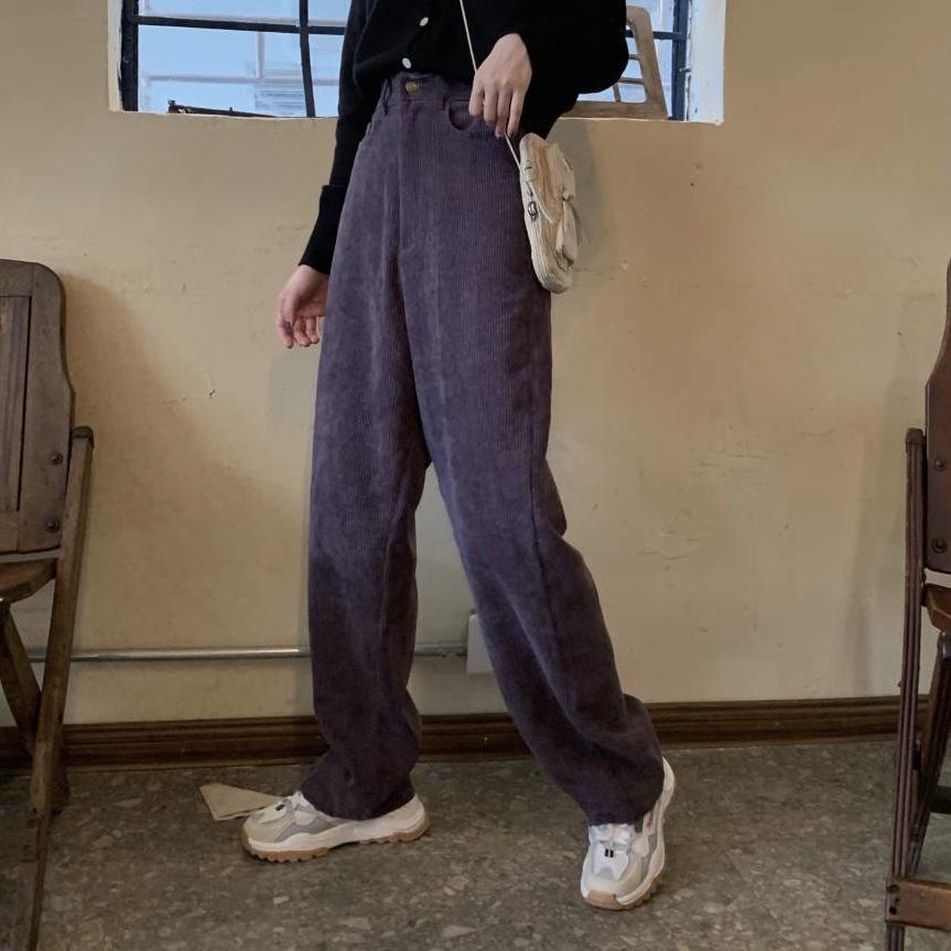 实拍实价!秋冬时髦 复古港味高腰显瘦百搭灯芯绒直筒裤长裤