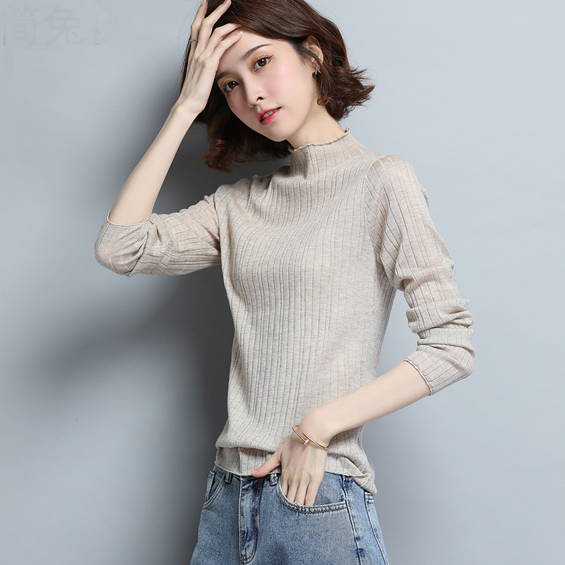 半高领打底衫女春秋冬季针织修身半领内搭短款羊毛衫女士毛衣薄款