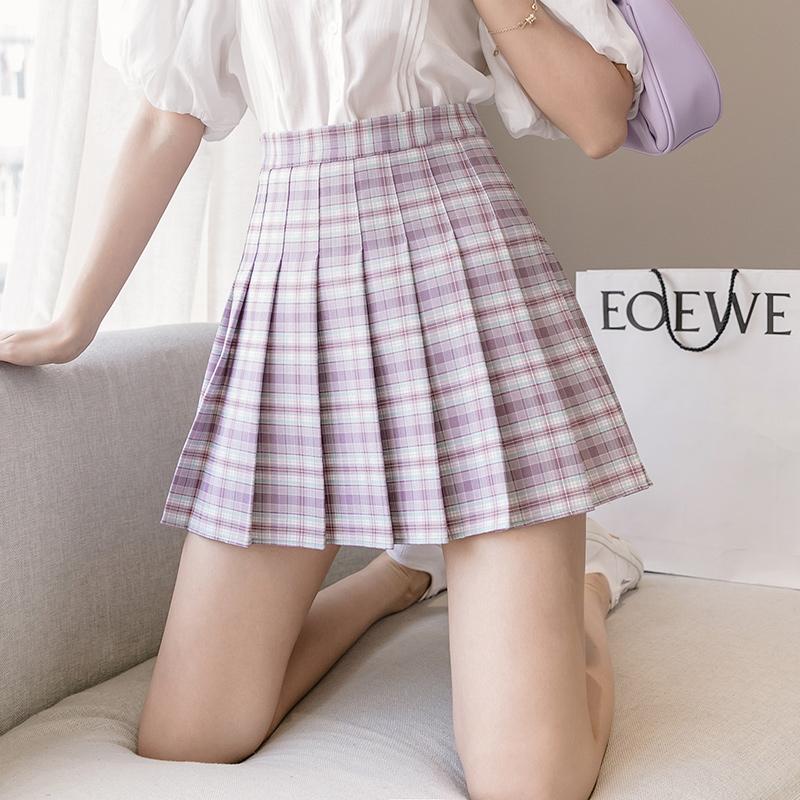 2020夏季韩版高腰显瘦清新百搭格子a字短裙百褶裙半身裙女