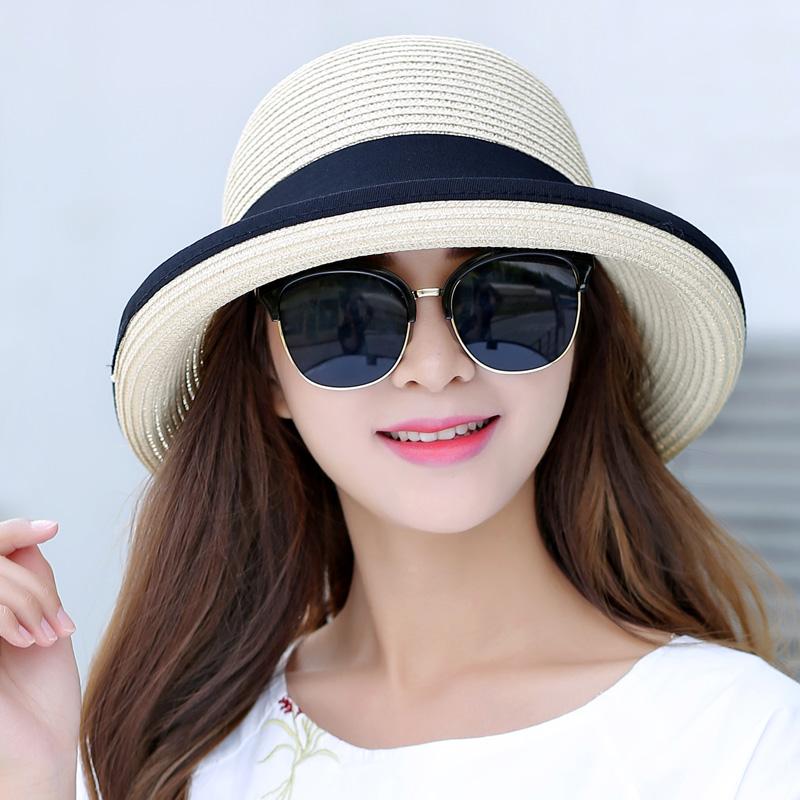 帽子の女性は夏に帽子の韓国版の日よけ帽子を畳むことができます。夏には日よけ帽子の日よけビーチ帽子の顔を隠します。
