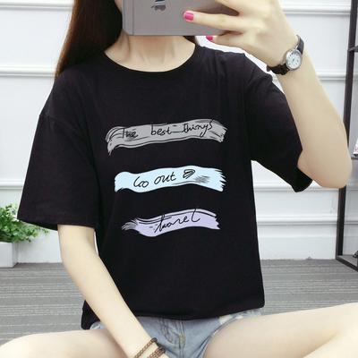 夏季新款韩版女装潮2018 纯棉圆领宽松短袖T恤女上衣学生打底衫