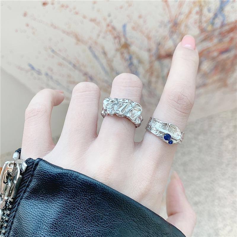 时尚个性银戒指女ins潮可调节冷淡风食指环复古不掉色套装饰品戒