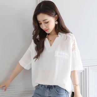 短袖 大码 白衬衫 镂空蕾丝上衣女t恤夏装 宽松休闲衬衣百搭v领雪纺衫