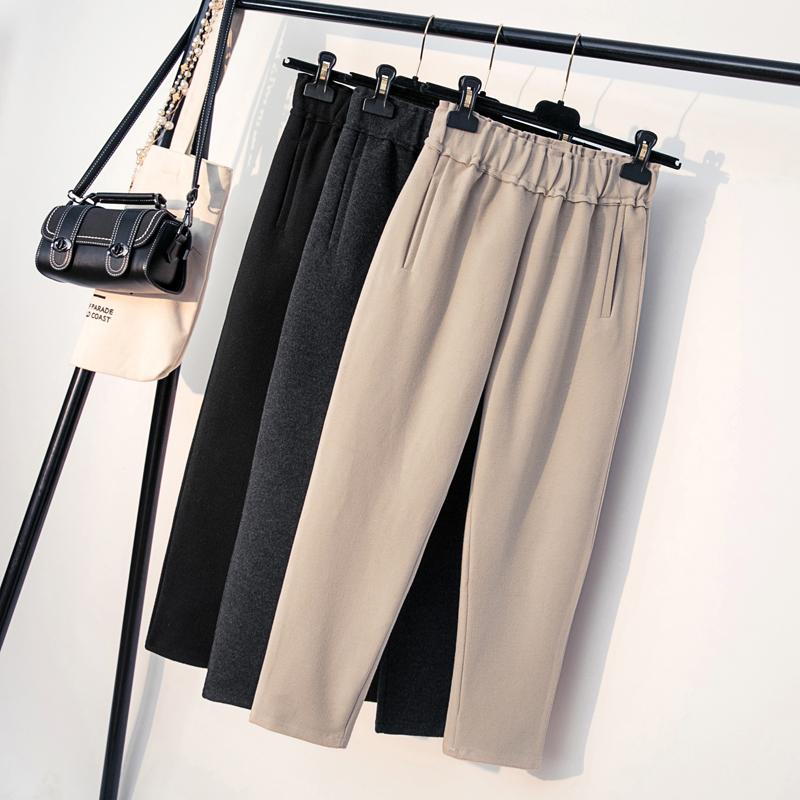 春季小资风味的米色萝卜裤子##前卫又有情调