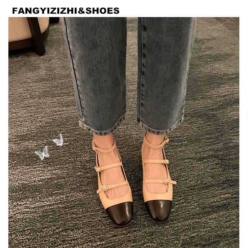 方艺小香风真皮粗跟复古方头赫本玛丽珍鞋新款低跟拼接平底女单鞋
