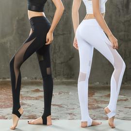 瑜伽服裤子提臀外穿网纱踩脚瑜伽裤女紧身弹力健身运动性感瑜珈裤