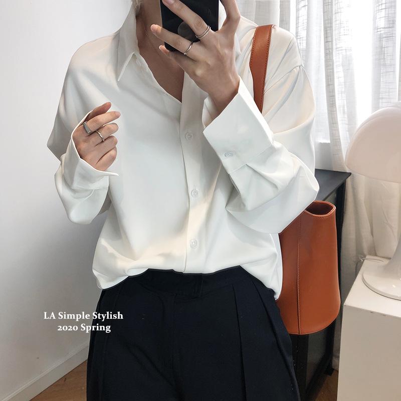 Lulu premium quality wrinkle resistant solid color acetate Satin Chiffon shirt womens autumn hanging Satin Shirt Top