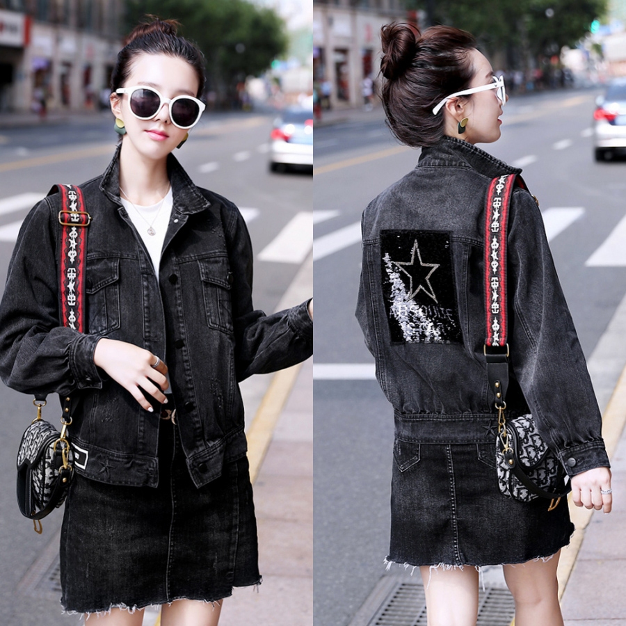 European station spring and autumn new style loose skinny heavy industry Sequin denim jacket female s