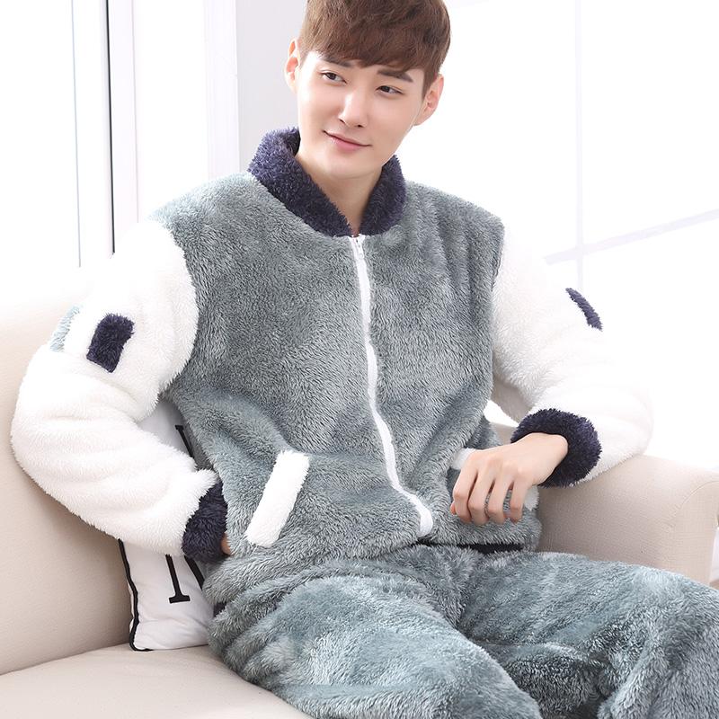 棒球服男加厚珊瑚绒休闲拉链睡衣热销30件正品保证