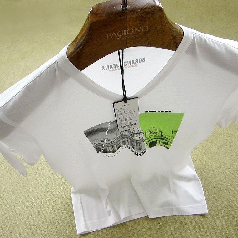 印花男装正品新款夏季V领休闲短袖T恤
