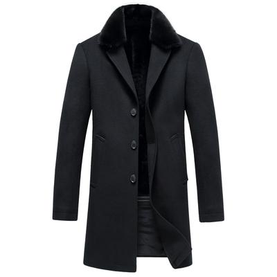 秋冬季男士中长款毛领羊毛呢大衣风衣呢子大衣青年商务男装外套