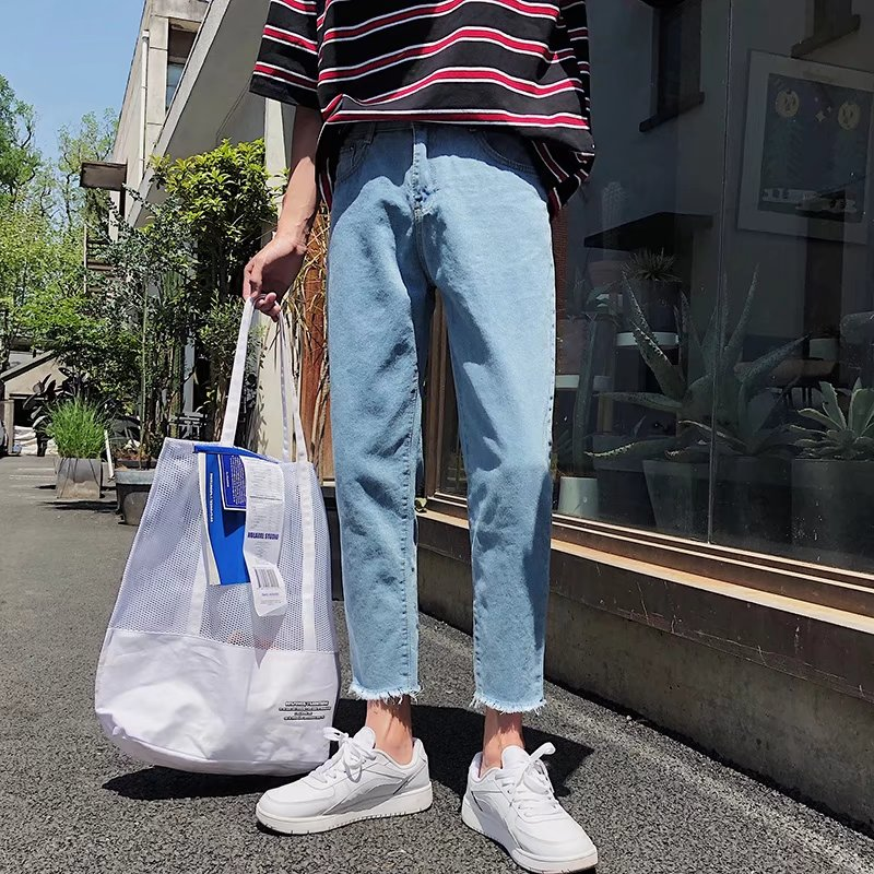 Summer light color jeans mens 8 / 9 pants loose straight tube ulzzang pants thin fashion 9-point pants