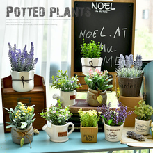 Zakka Japanese style small fresh simulation plant fake grass potted green plant fleshy fake flower desktop decoration shooting props