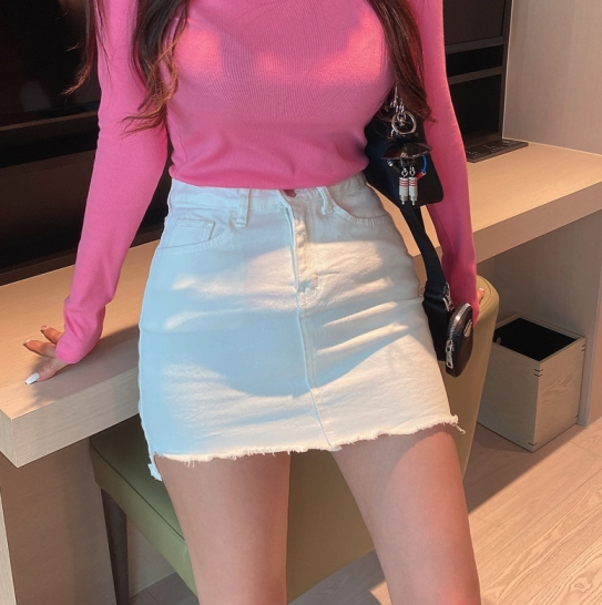 Xinzi Korea purchase overseas direct mail high waist and hip short skirt 2020 spring show thin solid color tight skirt 2.12