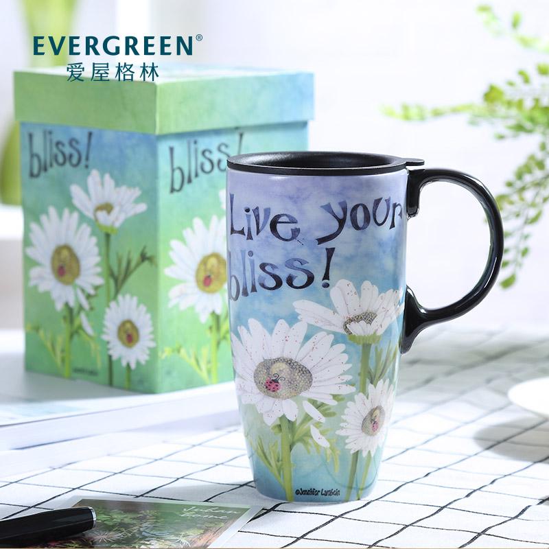爱屋格林陶瓷带盖办公室创意马克杯49.00元包邮