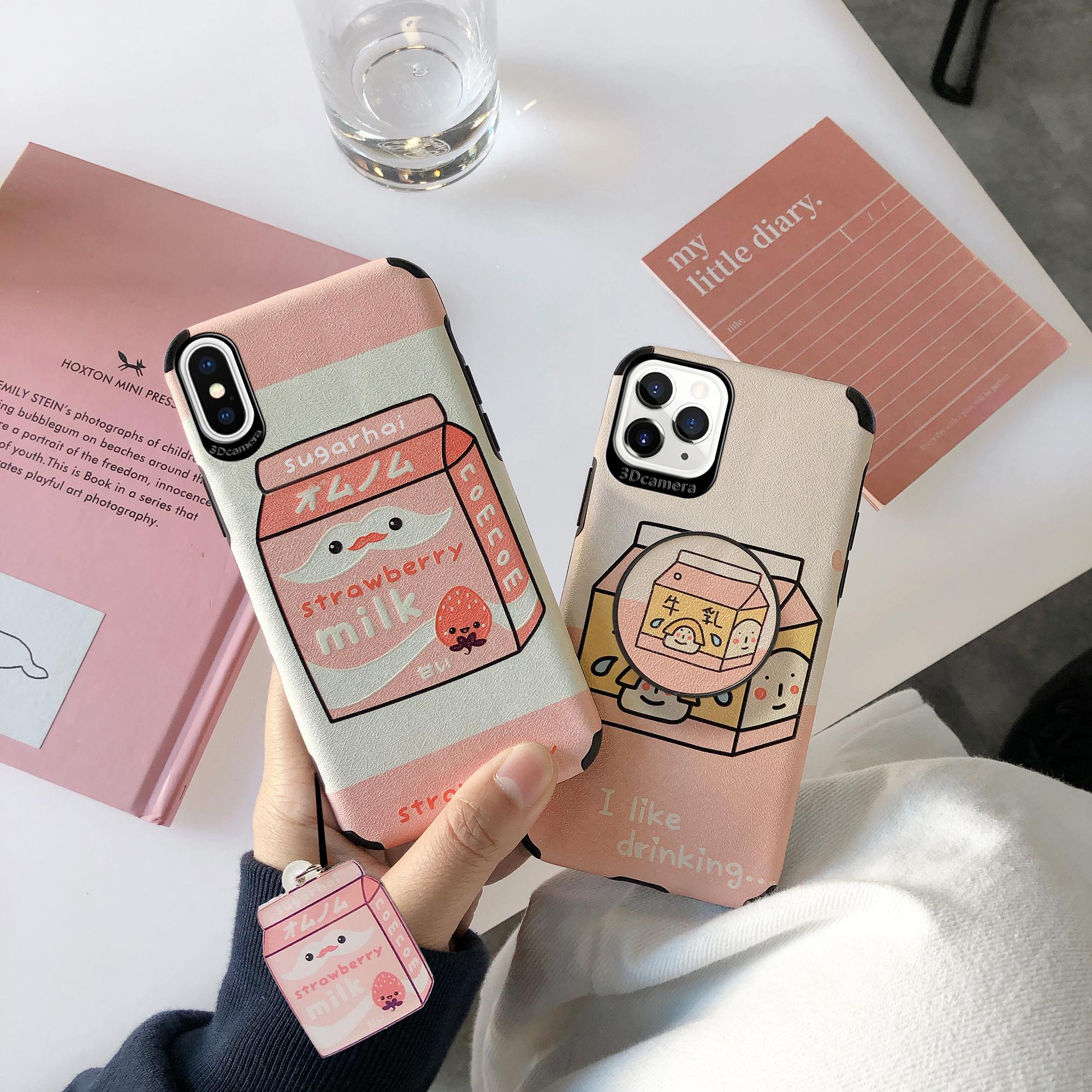 浮雕蚕丝纹iphoneXSmax草莓牛奶苹果XSMAX手机壳i111PROMAX保护套10软桌面指环支架女款全包防摔十可爱硅胶软