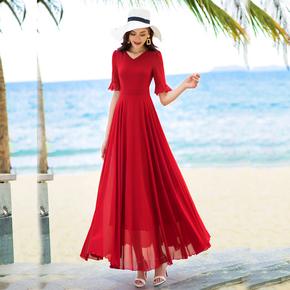 香衣丽华2020夏季新款五分袖长款大摆雪纺连衣裙旅游度假沙滩长裙