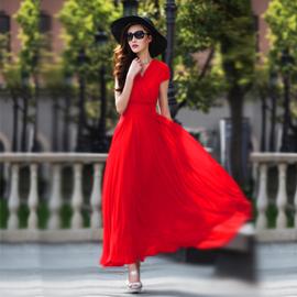 香衣丽华新款气质优雅修身显瘦波西米亚大码女装雪纺大摆连衣长裙