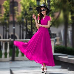 香衣丽华2021夏季新款超长款波西米亚连衣裙夏季女装大摆雪纺长裙