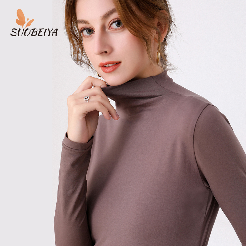 Modal half high collar long sleeve bottomed shirt for womens 2021 spring new solid high collar thin fit with T-shirt