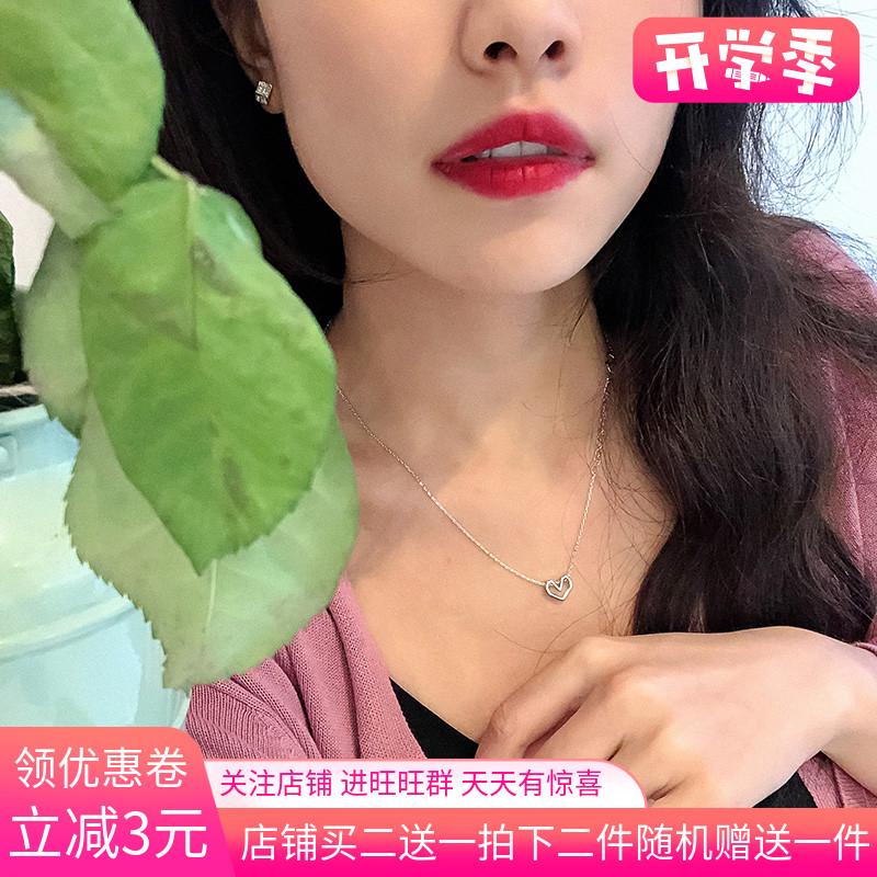 12月04日最新优惠s925纯银镂空爱心女韩版森系锁骨链