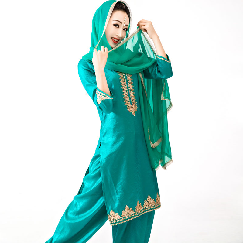 印度巴基斯坦旁遮普Giddha民族服装纯棉印花显瘦旁遮敝比库尔塔女