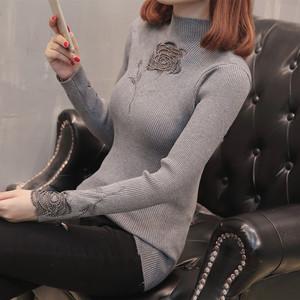 秋冬季新款半高领蕾丝花边修身打底针织衫长袖套头贴身毛衣女学生