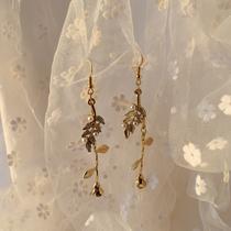 日韩时尚长款气质大方玫瑰耳环复古风珍珠镶嵌树叶耳坠无耳洞耳夹