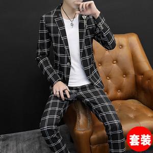 西服套装男韩版修身格子春季小西装青年潮流帅气一套男装休闲外套