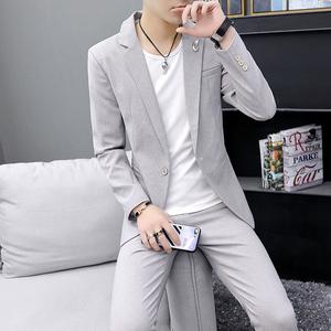 春秋季韩版男士薄款西服套装发型师小西装三件套潮流男装一套西装