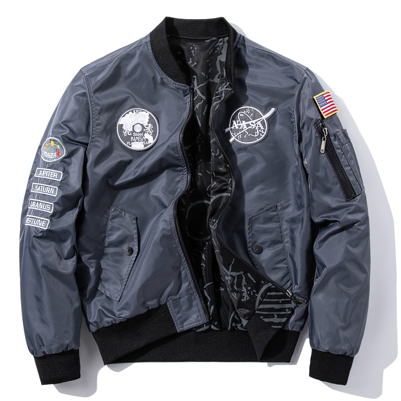 NASAs new double-sided mens casual sports jacket coat autumn and winter air force flight suit youth fashion large