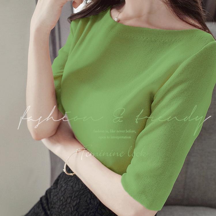 12月01日最新优惠秋季新款中袖牛油果绿色修身打底衫