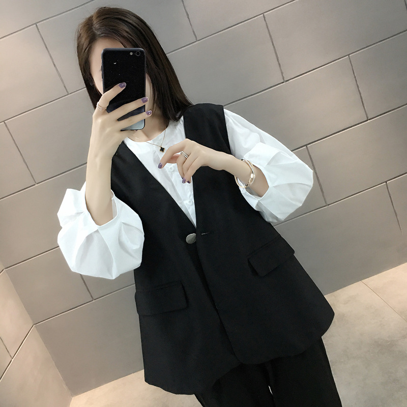 Spring / summer 2020 new black waistcoat for women in Korean fashion loose waistcoat