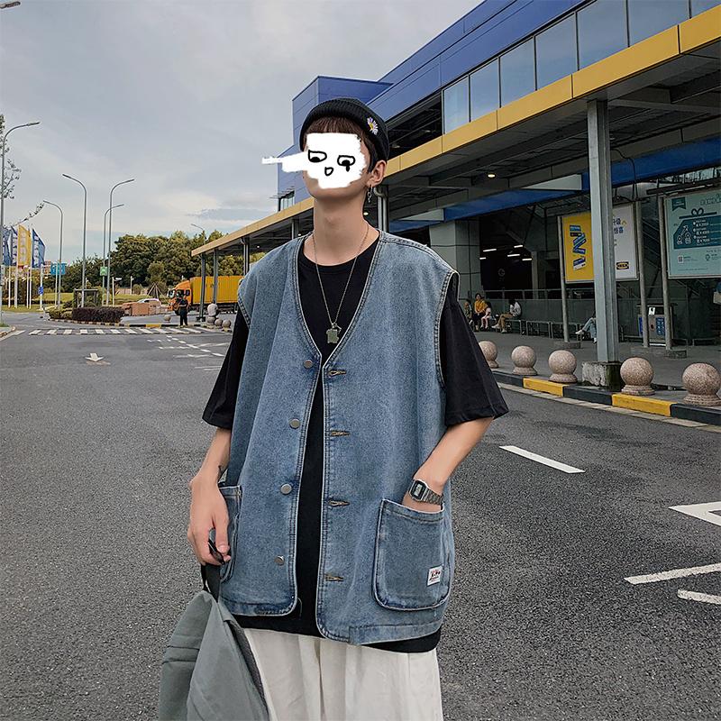 Autumn thin denim jacket mens Korean version loose sleeveless vest trend ins fashion work coat shoulder vest