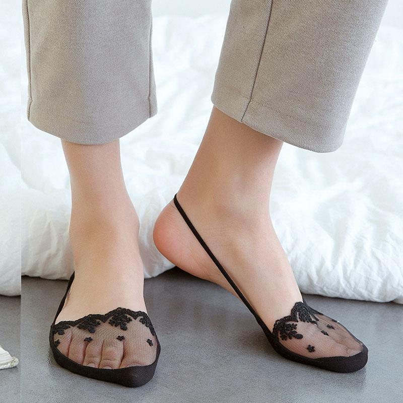 5双夏季半掌袜女士吊带蕾丝隐形袜高跟鞋袜纯棉前掌超浅口袜子薄
