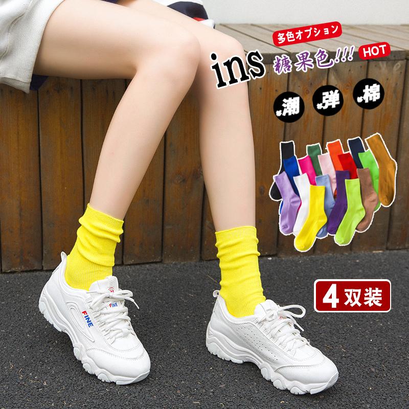 袜子女薄款堆堆袜中筒纯棉秋夏季韩版学院风百搭网红ins潮长袜子