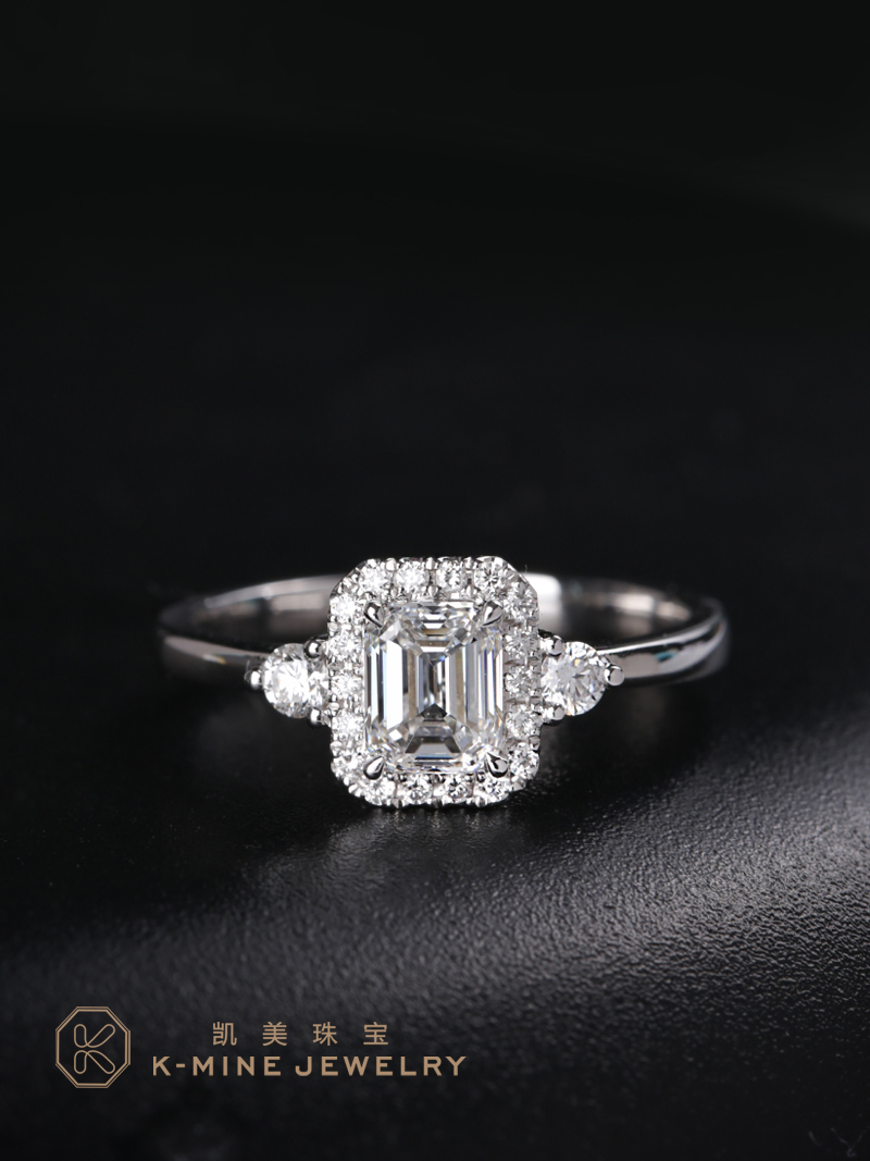 Camry Jewelry Wedding Ring Diamond Ring 18K Gold Square emerald cut diamond ring engagement proposal ring genuine