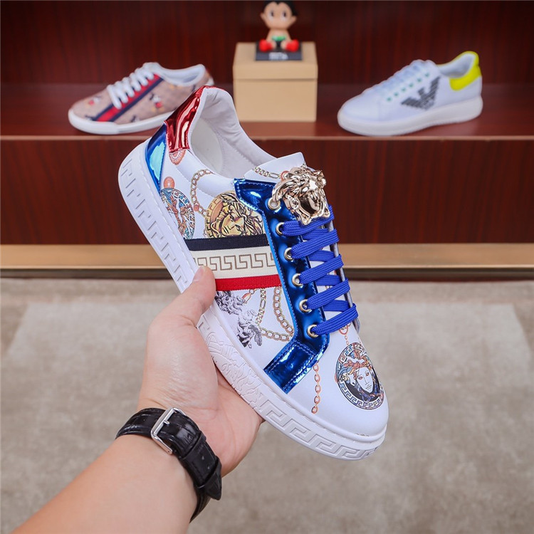 Europe station mens shoes 2020 new leather beauty head color matching printing fashion brand fashion versatile Korean low top board shoes