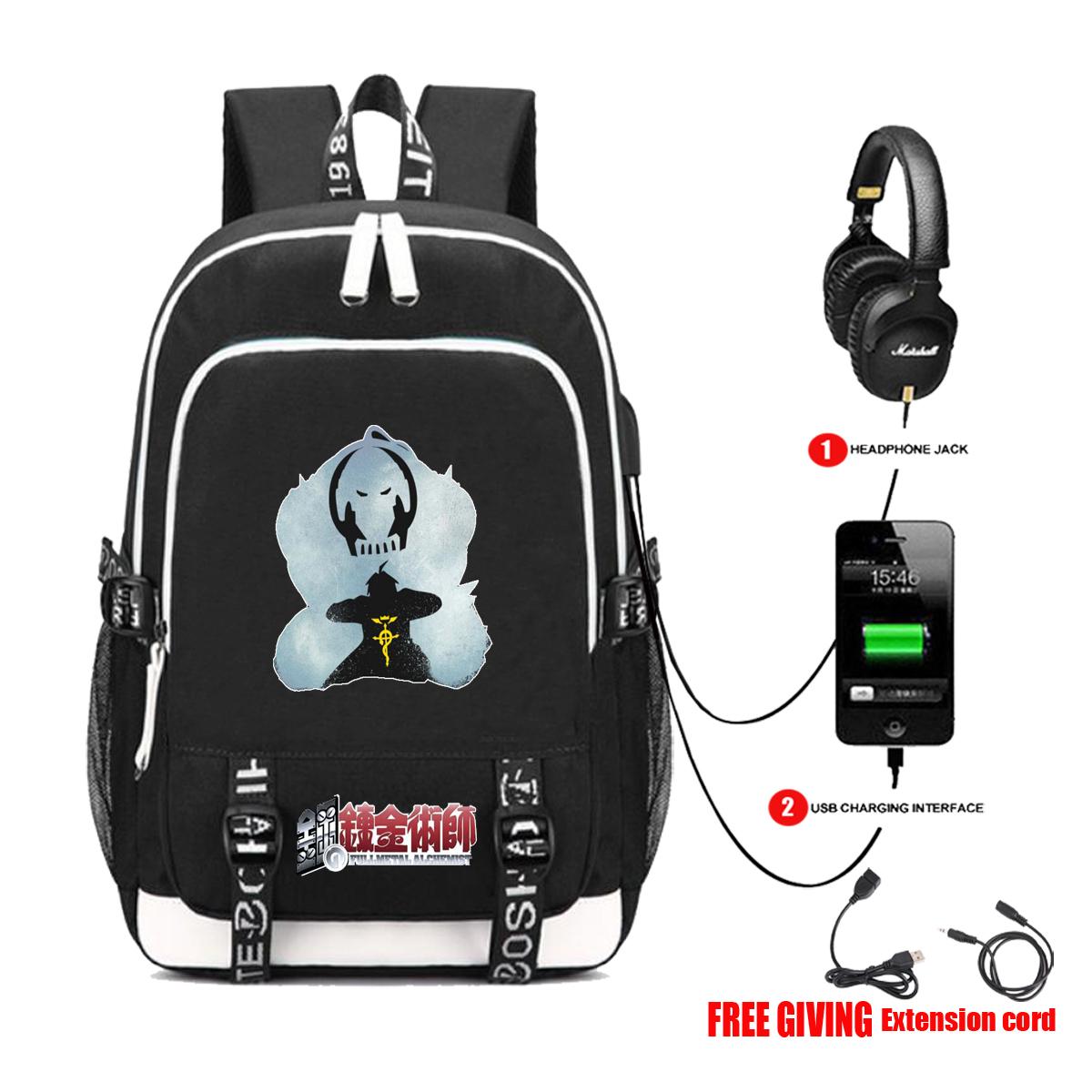 Anime steel alchemist backpack student schoolbag USB headset interface multifunctional computer bag