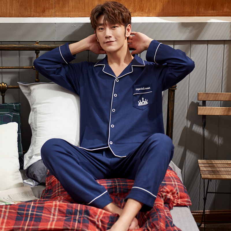 Pajamas mens long sleeve pure cotton spring autumn loose cotton thin mens large leisure home wear suit