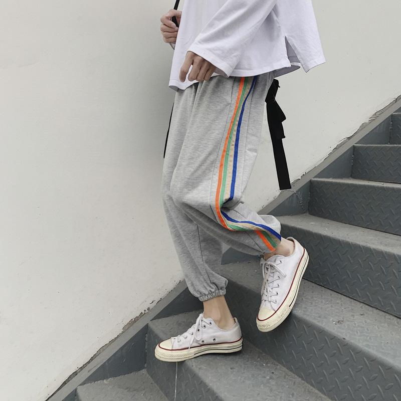 夏季薄款条纹束脚裤韩版宽松运动休闲裤学生百搭哈伦九分男卫裤子