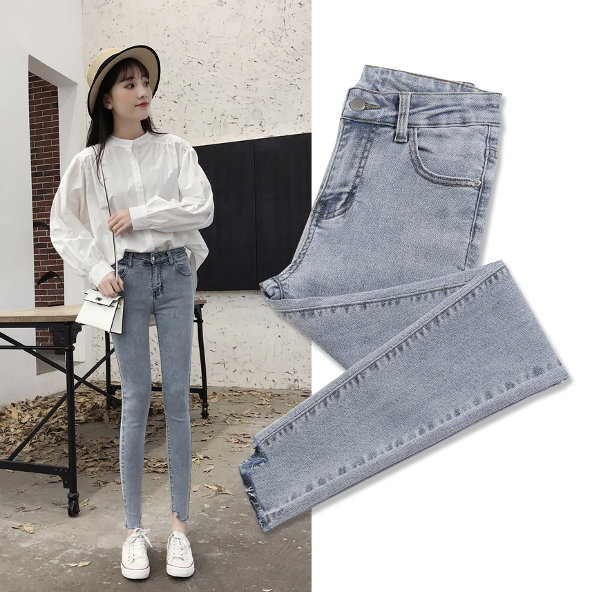 High waist smoke grey jeans womens spring 2019 new Korean version tight Capris net red light color small leg pants summer