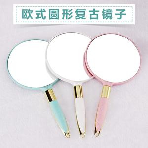 欧式复古手柄化妆镜手拿手持美容院美容镜子便携随身纹绣用品工具
