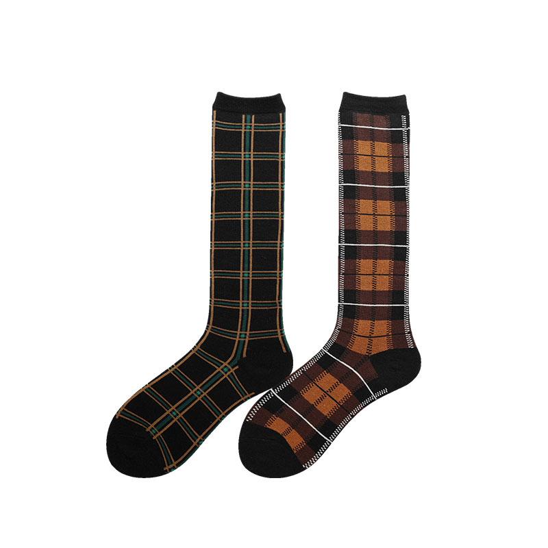 七町目春秋小腿及膝袜英伦学院风复古方格高筒袜子女网红款五分袜