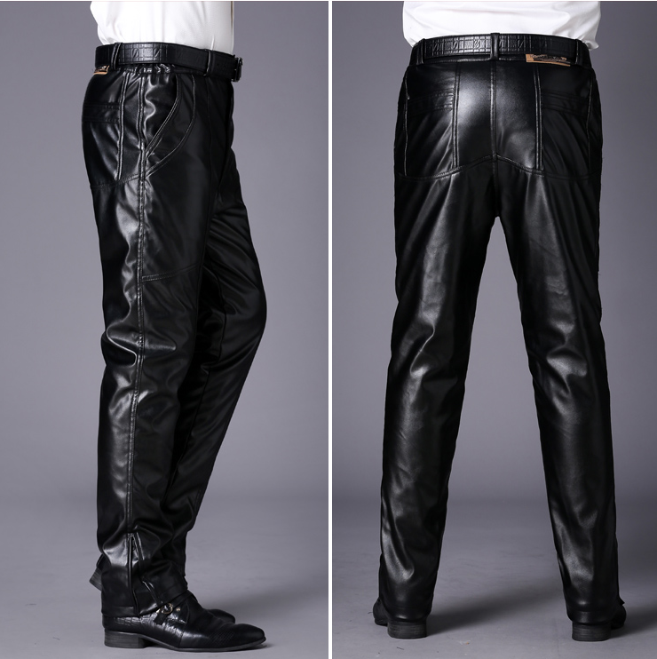 Plus size middle-aged and old mens leather pants middle-aged motorcycle Plush thickened casual pants windproof Pu antifreeze in winter